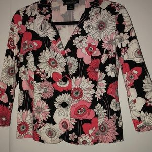 Black and pink floral tailored jacket